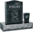 18 inch x 6 inch 24 inch Serp Top Headstone polished top front and back with 30 inch Base and square tapered vase in Emerald Pearl with design R-31