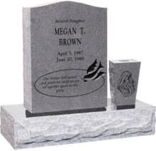 18 inch x 6 inch 24 inch Serp Top Headstone polished top front and back with 30 inch Base and square tapered vase in Grey with design R-2