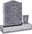 18 inch x 6 inch x 24 inch Serp Top Upright Headstone polished front and back with 30 inch Base and square tapered Vase in Bahama Blue with design AS-003