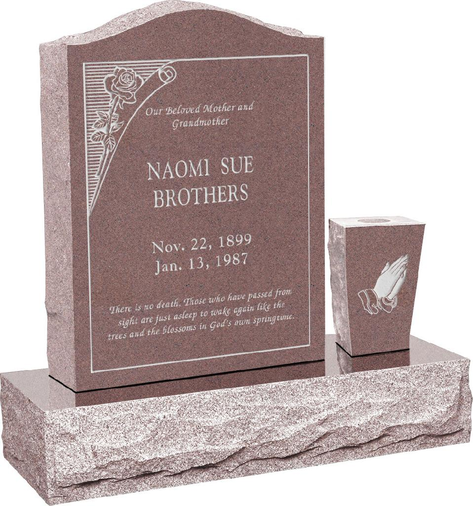 18 inch x 6 inch x 24 inch Serp Top Upright Headstone polished front and back with 30 inch Base and square tapered Vase in Desert Pink with design B-10