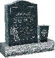 18 inch x 6 inch x 24 inch Serp Top Upright Headstone polished front and back with 30 inch Base and square tapered Vase in Emerald Pearl with design B-12
