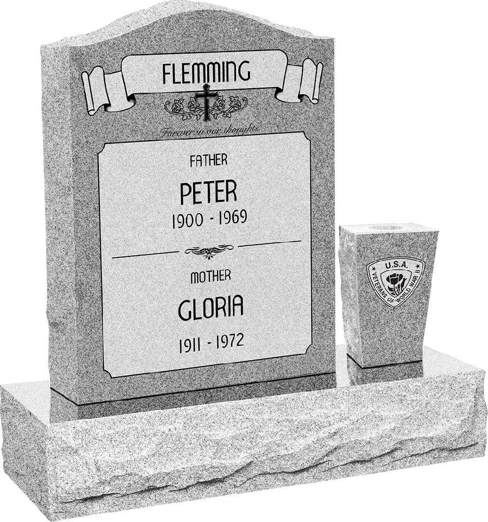 18 inch x 6 inch x 24 inch Serp Top Upright Headstone polished front and back with 30 inch Base and square tapered Vase in Grey with design AS-021 Sanded_Panel