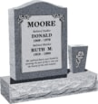 18 inch x 6 inch x 24 inch Serp Top Upright Headstone polished front and back with 30 inch Base and square tapered Vase in Imperial Grey with design B-21 Sanded Panel