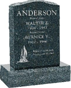18 inch x 6 inch x 24 inch Serp Top Upright Headstone polished front and back with 24 inch Base in Emerald Pearl with design T-4