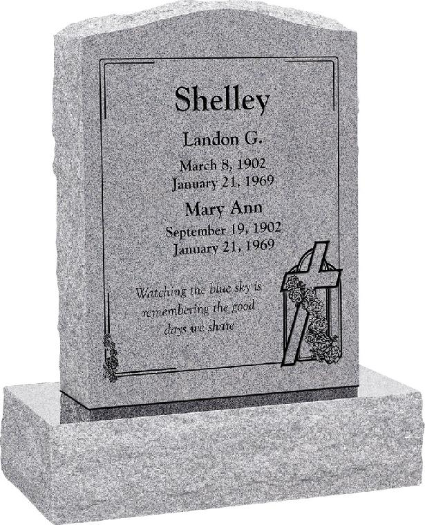 18 inch x 6 inch x 24 inch Serp Top Upright Headstone polished front and back with 24 inch Base in Grey with design AS-012