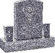 18inch_x_6inch_x_24inch_Serp_Top_Upright_Headstone_polished_front_and_back_with_34inch_Base_and_two_square_tapered_Vases_in_Bahama_Blue_with_design_F-109