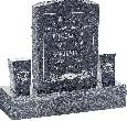 18inch_x_6inch_x_24inch_Serp_Top_Upright_Headstone_polished_front_and_back_with_34inch_Base_and_two_square_tapered_Vases_in_Blue_Pearl_with_design_F-119
