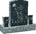 18inch_x_6inch_x_24inch_Serp_Top_Upright_Headstone_polished_front_and_back_with_34inch_Base_and_two_square_tapered_Vases_in_Emerald_Pearl_with_design_R-4