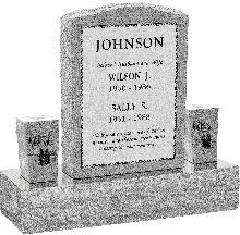 18inch_x_6inch_x_24inch_Serp_Top_Upright_Headstone_polished_front_and_back_with_34inch_Base_and_two_square_tapered_Vases_in_Grey_with_design_B-3_Sanded_Panel