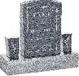 18inch_x_6inch_x_24inch_Serp_Top_Upright_Headstone_polished_front_and_back_with_34inch_Base_and_two_square_tapered_Vases_in_Imperial_Grey_with_design_C-21
