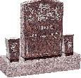 18inch x 6inch x 24inch Serp Top Upright Headstone polished front and back with 34inch Base and two square tapered Vases in Mahogany with design AS-024