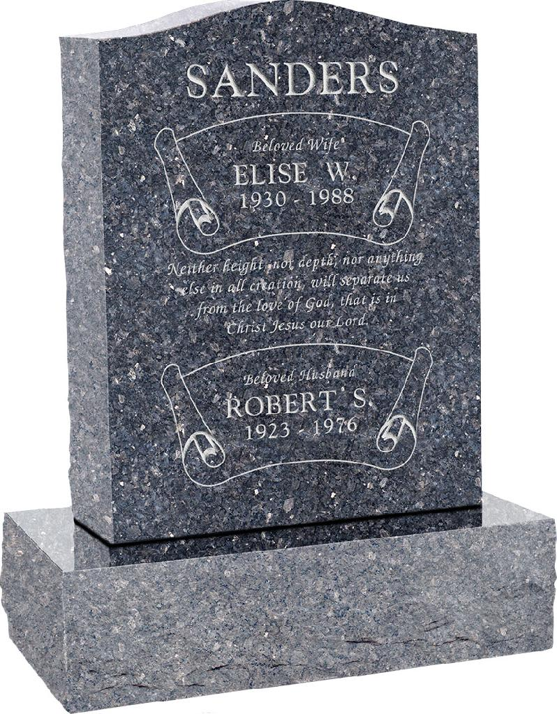 18inch_x_6inch_x_24inch_Serp_Top_Upright_Headstone_polished_top,_front_and_back_with_24inch_Base_in_Blue_Pearl_with_design_B-7