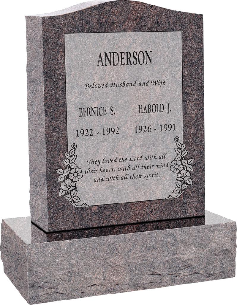 18inch_x_6inch_x_24inch_Serp_Top_Upright_Headstone_polished_top,_front_and_back_with_24inch_Base_in_Himalayan_with_design_C-101_Sanded_Panel
