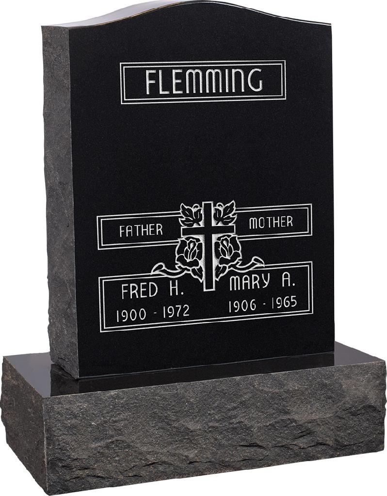 18inch_x_6inch_x_24inch_Serp_Top_Upright_Headstone_polished_top,_front_and_back_with_24inch_Base_in_Imperial_Black_with_design_F-111