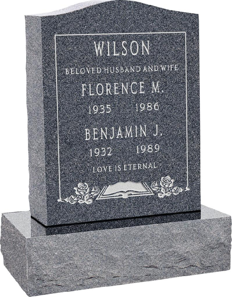 18inch_x_6inch_x_24inch_Serp_Top_Upright_Headstone_polished_top,_front_and_back_with_24inch_Base_in_Imperial_Grey_with_design_F-119