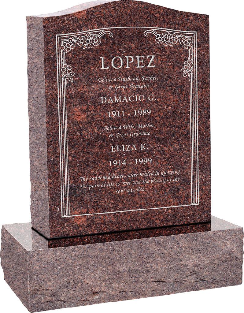 18inch_x_6inch_x_24inch_Serp_Top_Upright_Headstone_polished_top,_front_and_back_with_24inch_Base_in_Mahogany_with_design_HL-102