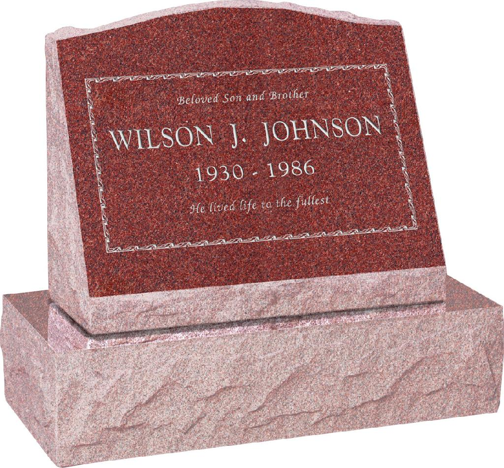 20 inch x 10 inch x 16 inch Serp Top Slant Headstone polished front and back with 26 inch Base in Imperial Red with design B-3