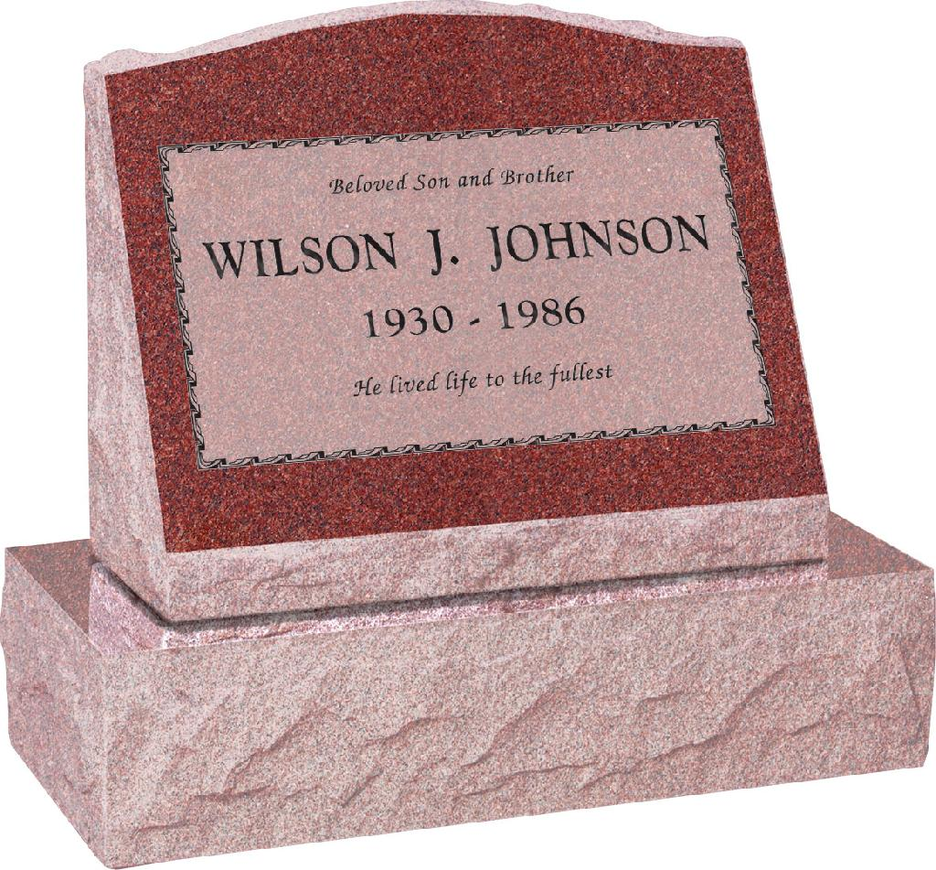 20 inch x 10 inch x 16 inch Serp Top Slant Headstone polished front and back with 26 inch Base in Imperial Red with design B-3 Sanded Panel