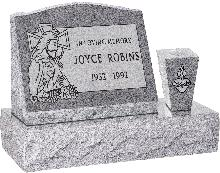 20 inch x 10 inch x 16 inch Serp Top Slant Headstone polished front and back with 30 inch Base and square tapered Vase in Grey with design SD-323 Sanded Panel