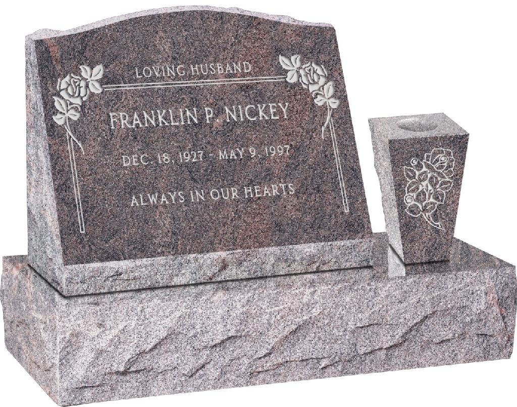 20 inch x 10 inch x 16 inch Serp Top Slant Headstone polished front and back with 30 inch Base and square tapered Vase in Himalayan with design F-107