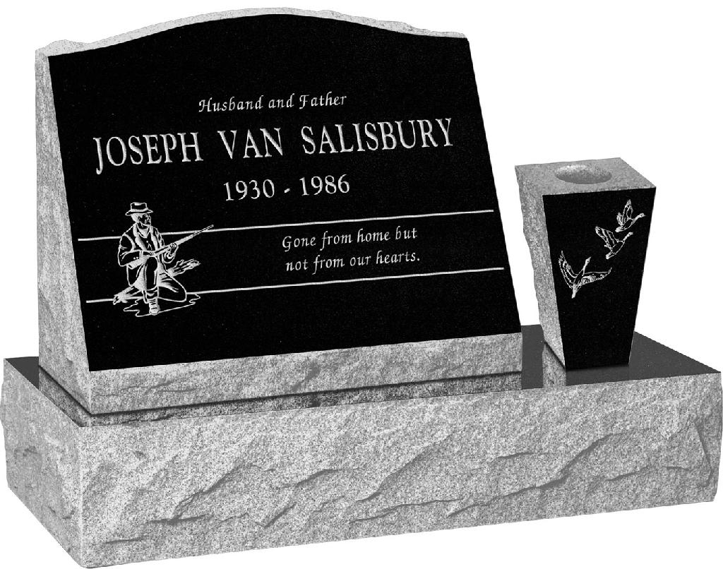 20 inch x 10 inch x 16 inch Serp Top Slant Headstone polished front and back with 30 inch Base and square tapered Vase in Imperial Black with design H-7