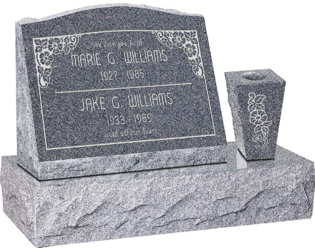 20 inch x 10 inch x 16 inch Serp Top Slant Headstone polished front and back with 30 inch Base and square tapered Vase in Imperial Grey with design SD-110