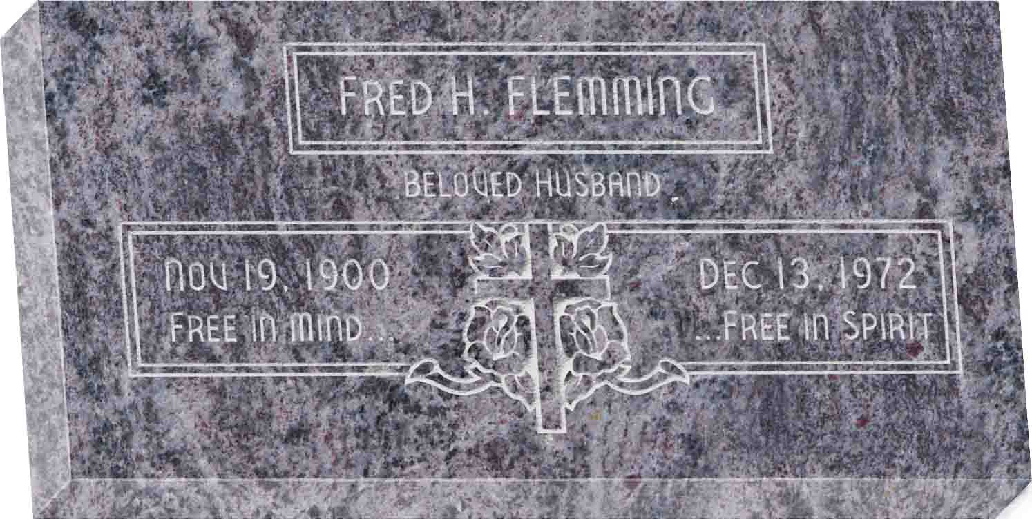 20inch_x_10inch_x_3inch_Flat_Granite_Headstone_in_Bahama_Blue_with_design_F-111