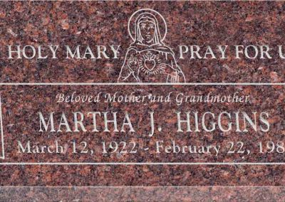 20inch_x_10inch_x_3inch_Flat_Granite_Headstone_in_Mahogany_with_design_R-51
