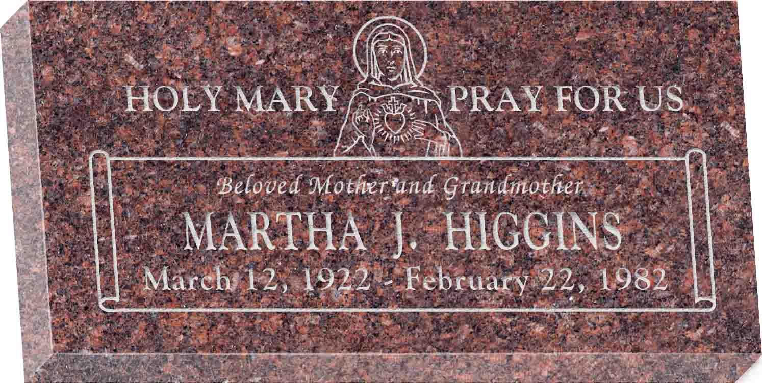 20inch_x_10inch_x_3inch_Flat_Granite_Headstone_in_Mahogany_with_design_R-51