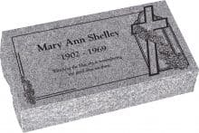 20 inch x 10 inch x 6 inch Pillow Top Headstone in Grey with design AS-012