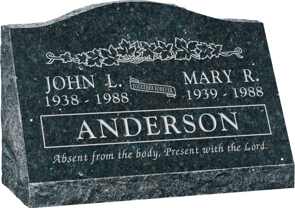 24inch_x_10inch_x_16inch_Serp_Top_Slant_Headstone_polished_front_and_back_in_Emerald_Pearl_with_design_B-2