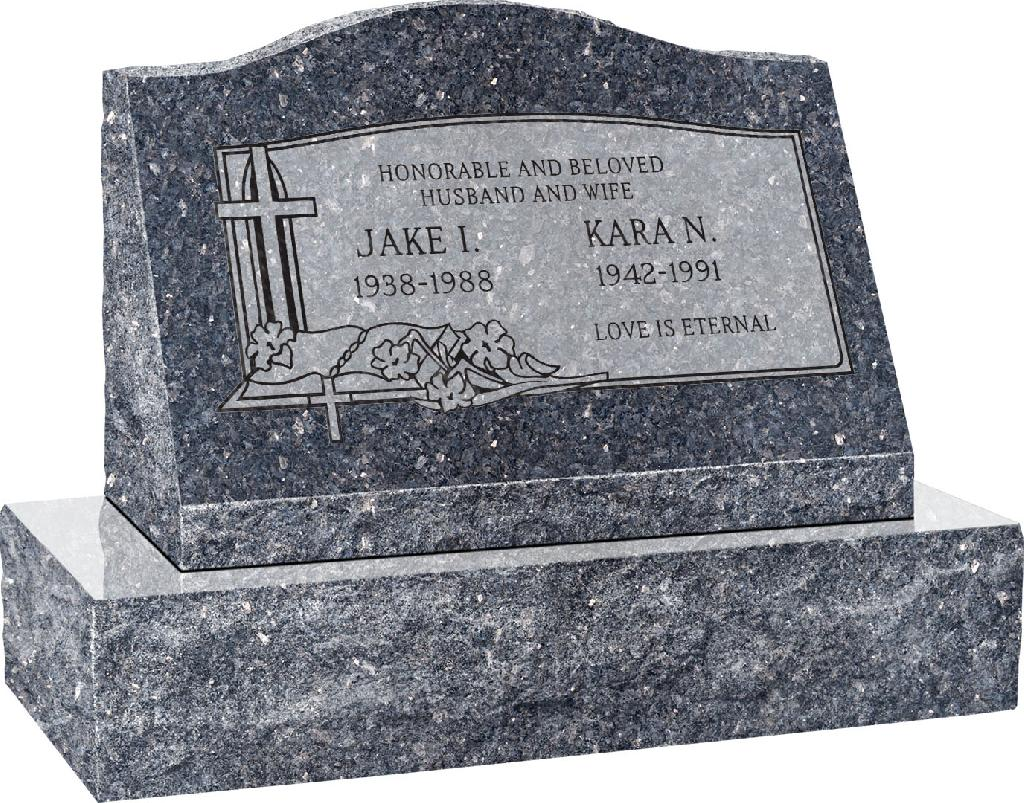 24inch_x_10inch_x_16inch_Serp_Top_Slant_Headstone_polished_front_and_back_with_30inch_Base_in_Blue_Pearl_with_design_C-03,_Sanded_Panel