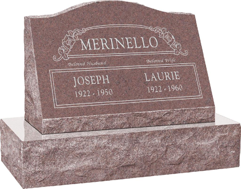 24inch_x_10inch_x_16inch_Serp_Top_Slant_Headstone_polished_front_and_back_with_30inch_Base_in_Desert_Pink_with_design_SD-100