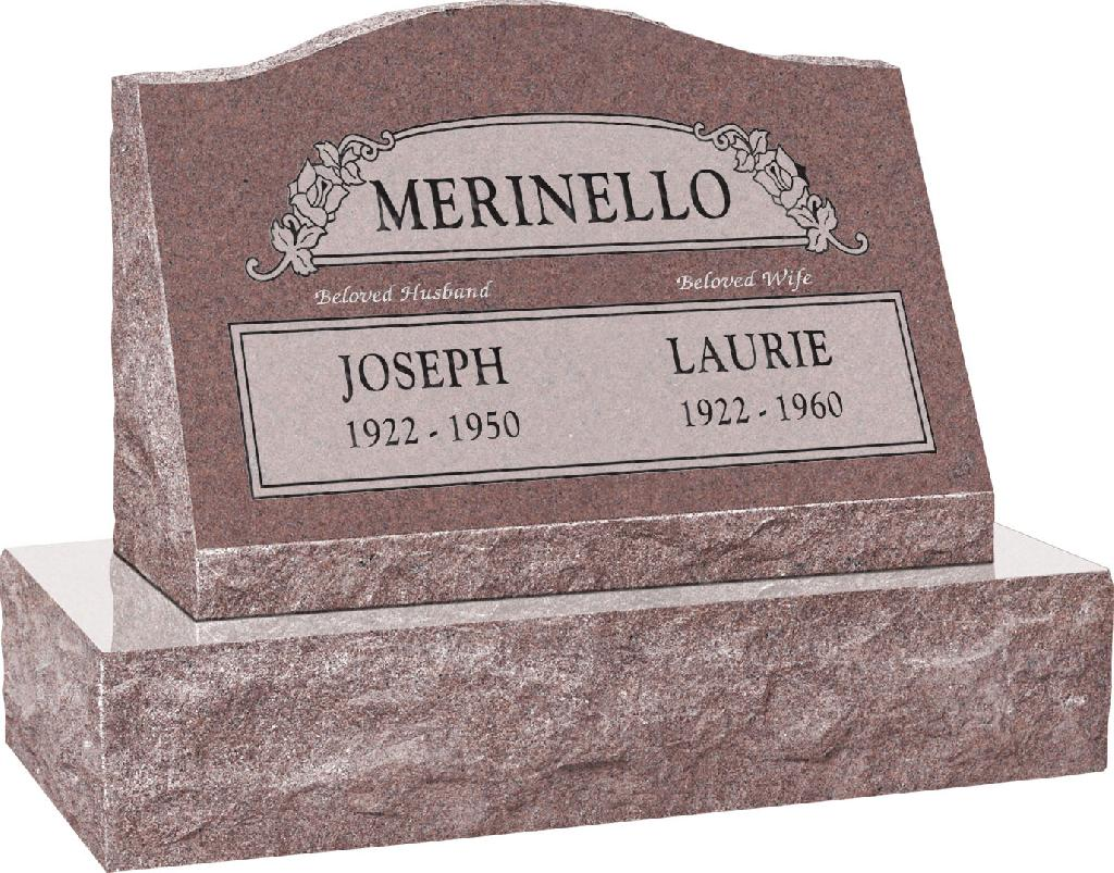 24inch_x_10inch_x_16inch_Serp_Top_Slant_Headstone_polished_front_and_back_with_30inch_Base_in_Desert_Pink_with_design_SD-100,_Sanded_Panel