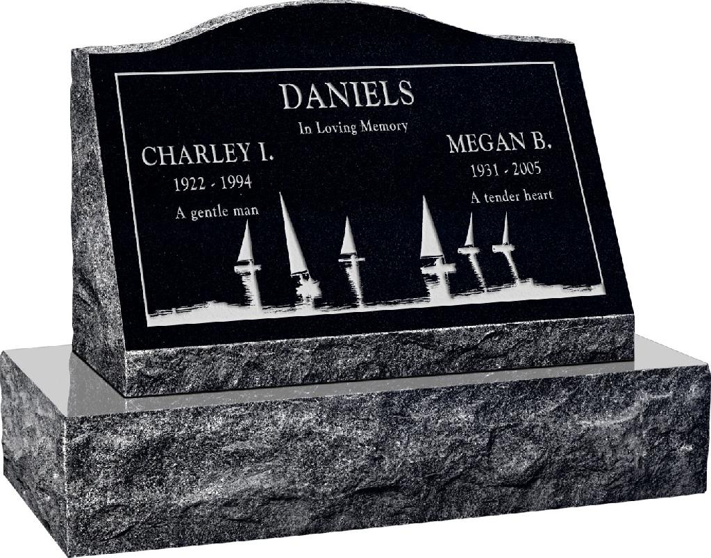 24inch_x_10inch_x_16inch_Serp_Top_Slant_Headstone_polished_front_and_back_with_30inch_Base_in_Imperial_Black_with_design_SD-414