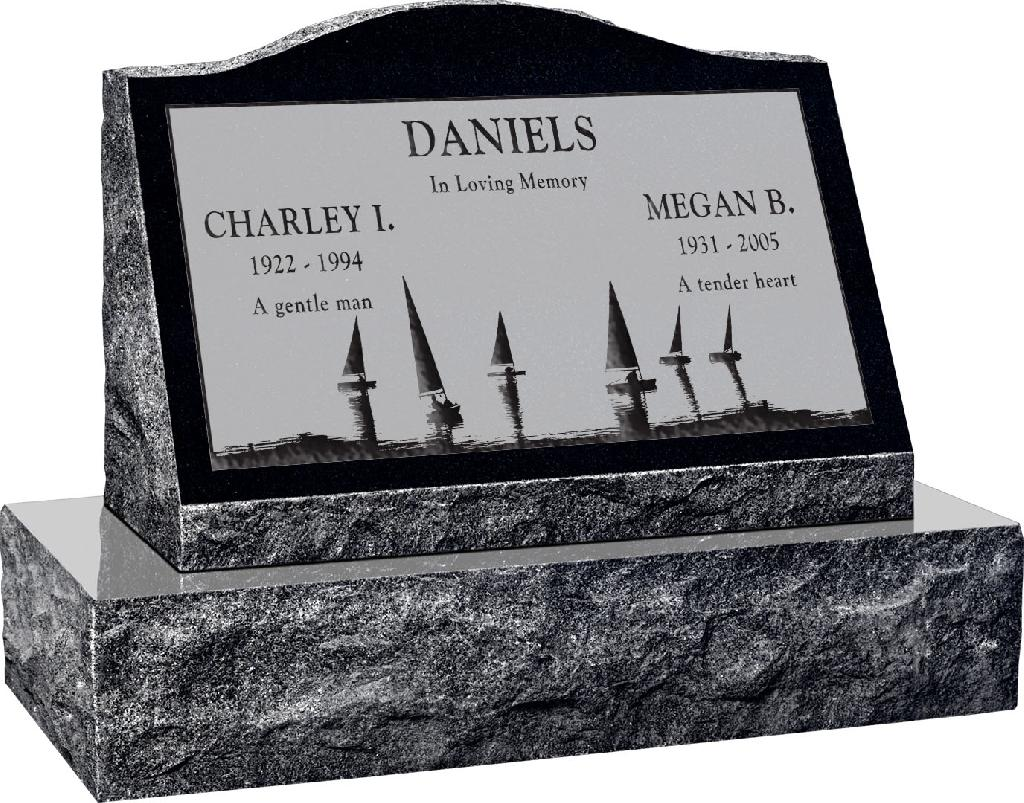 24inch_x_10inch_x_16inch_Serp_Top_Slant_Headstone_polished_front_and_back_with_30inch_Base_in_Imperial_Black_with_design_SD-414,_Sanded_Panel