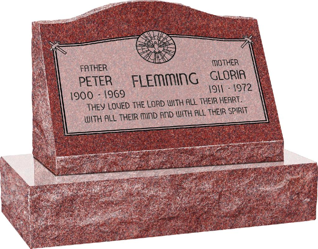 24inch_x_10inch_x_16inch_Serp_Top_Slant_Headstone_polished_front_and_back_with_30inch_Base_in_Imperial_Red_with_design_AS-020,_Sanded_Panel
