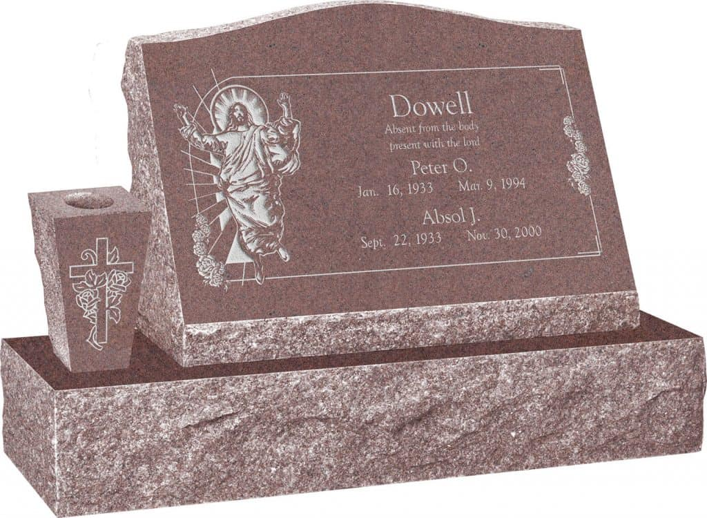 24inch_x_10inch_x_16inch_Serp_Top_Slant_Headstone_polished_front_and_back_with_34inch_Base_and_square_tapered_Vase_in_Desert_Pink_with_design_AS-017
