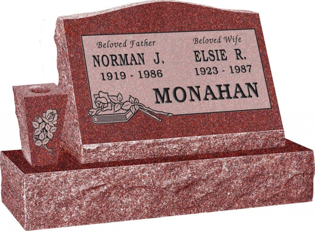 24inch_x_10inch_x_16inch_Serp_Top_Slant_Headstone_polished_front_and_back_with_34inch_Base_and_square_tapered_Vase_in_Imperial_Red_with_design_B-16,_Sanded_Panel