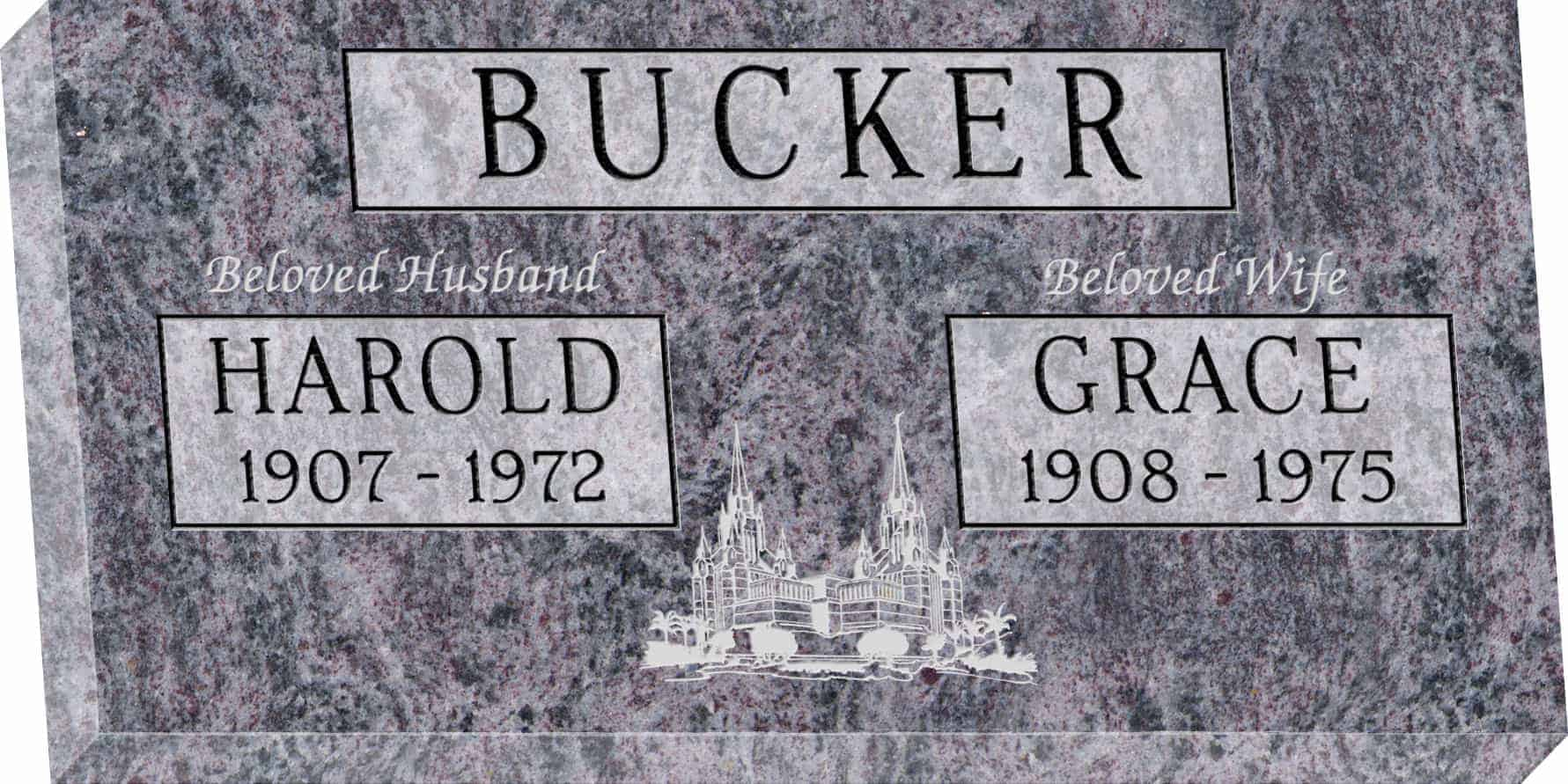 24inch_x_12inch_x_3inch_Flat_Granite_Headstone_in_Bahama_Blue_with_design_M-02_Sanded_Panel