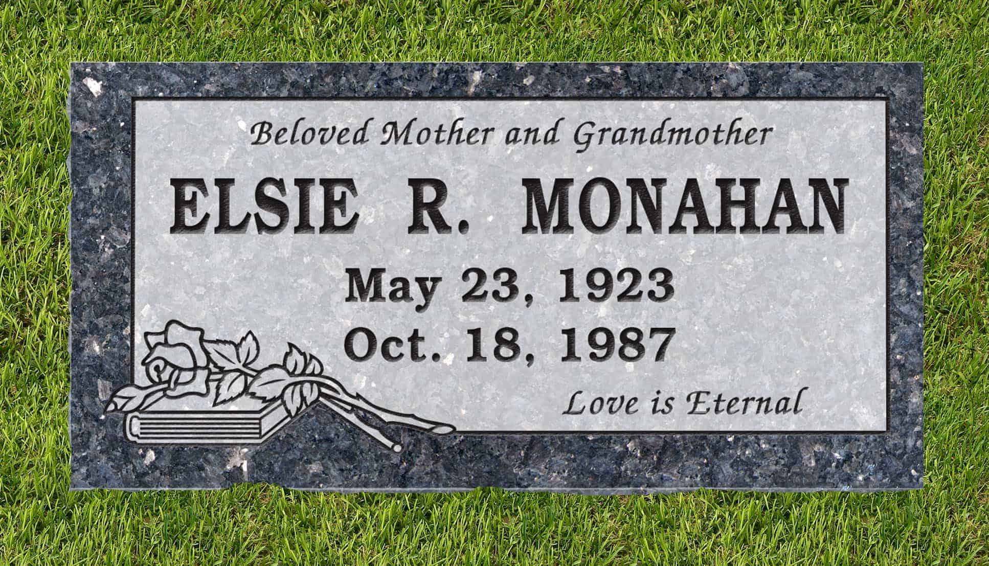 24inch_x_12inch_x_3inch_Flat_Granite_Headstone_in_Blue_Pearl_with_design_B-16_installed_in_ground