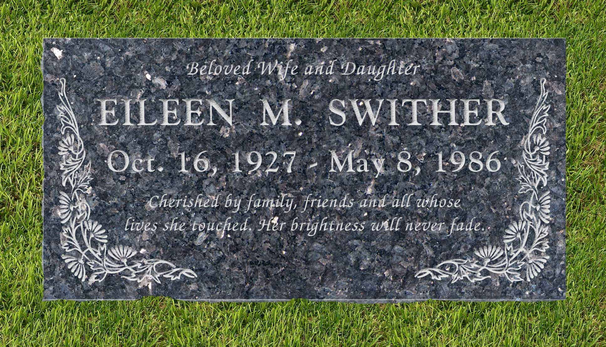 24inch_x_12inch_x_3inch_Flat_Granite_Headstone_in_Blue_Pearl_with_design_B-6_installed_in_ground