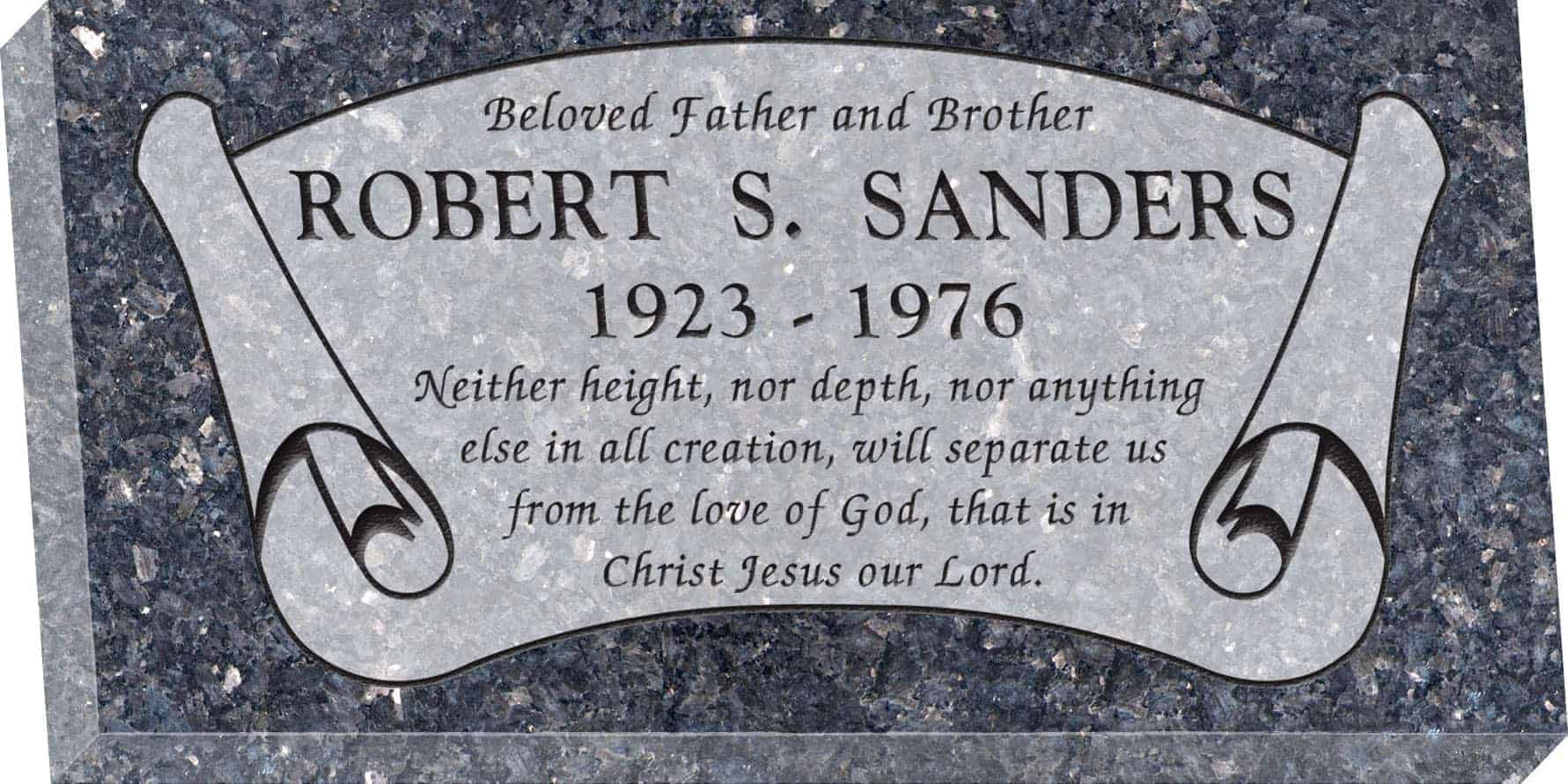 24inch_x_12inch_x_3inch_Flat_Granite_Headstone_in_Blue_Pearl_with_design_B-7,_Sanded_Panel