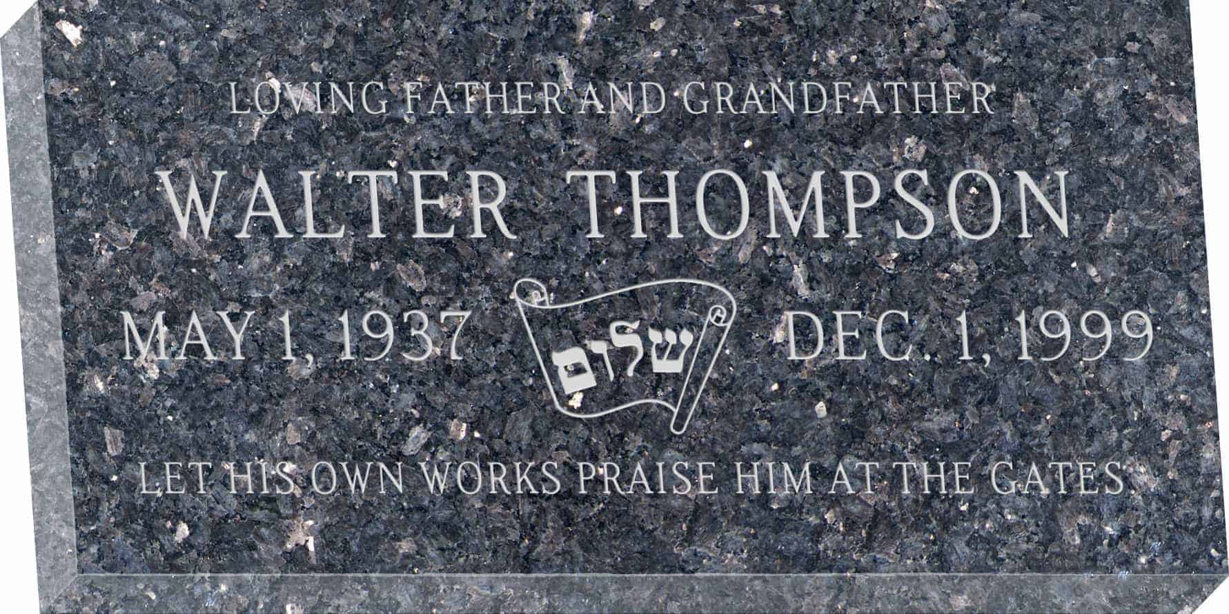 24inch_x_12inch_x_3inch_Flat_Granite_Headstone_in_Blue_Pearl_with_design_J-04