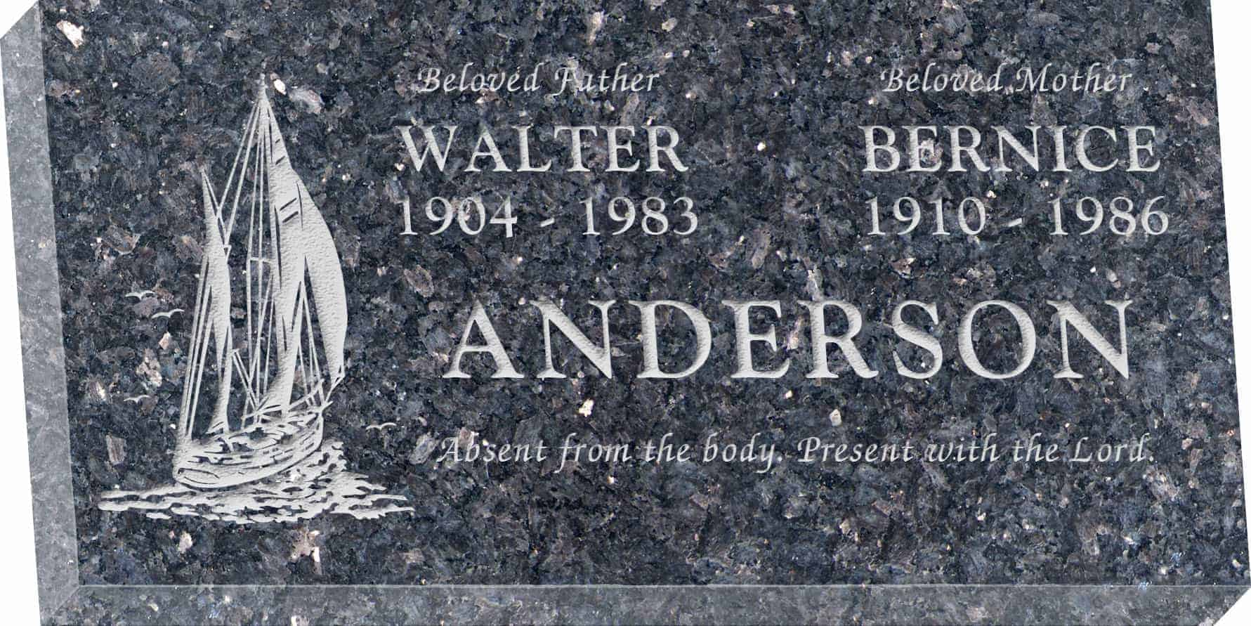 24inch_x_12inch_x_3inch_Flat_Granite_Headstone_in_Blue_Pearl_with_design_T-4