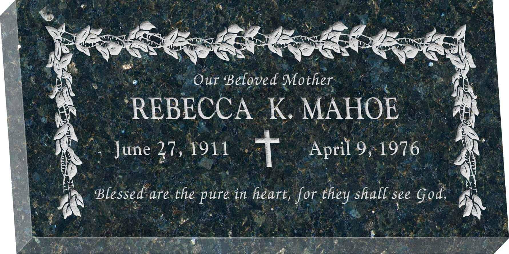 24 X 12 X 3 Flat Granite Headstone Honor Life