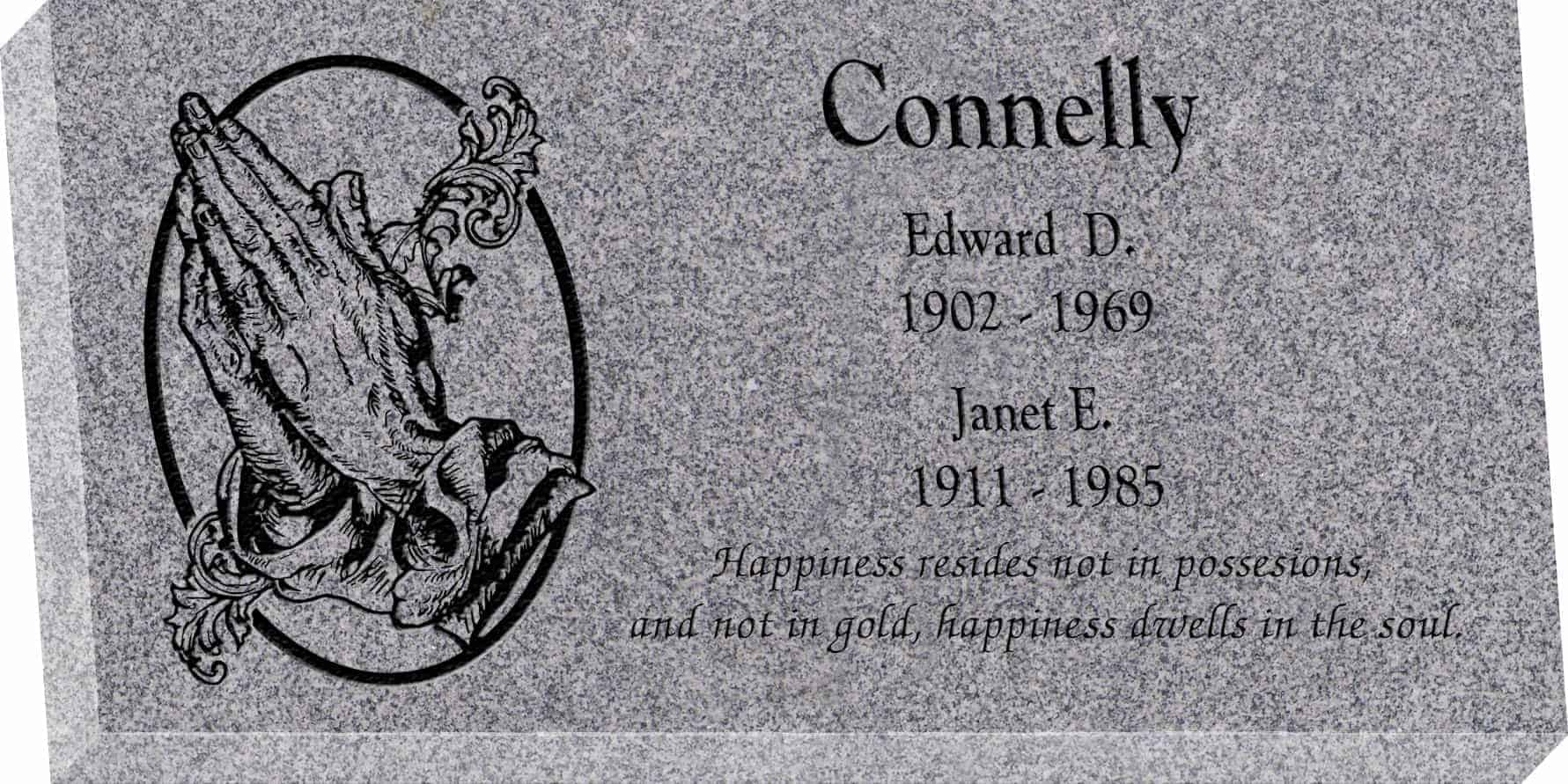 24inch_x_12inch_x_3inch_Flat_Granite_Headstone_in_Grey_with_design_AS-014