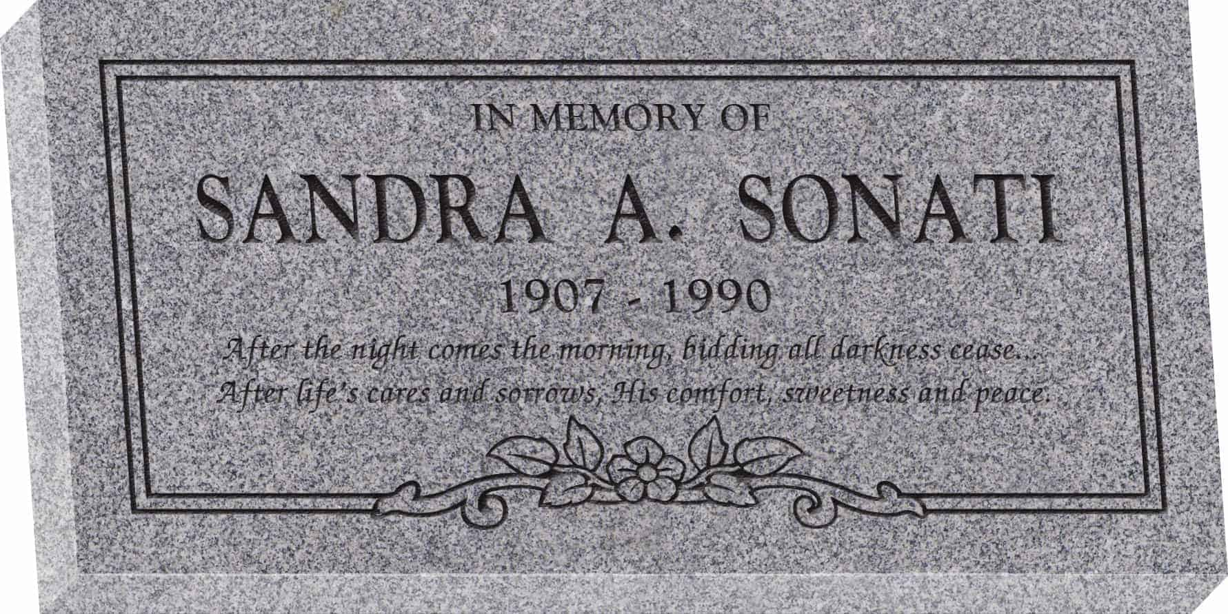 24inch_x_12inch_x_3inch_Flat_Granite_Headstone_in_Grey_with_design_C-150