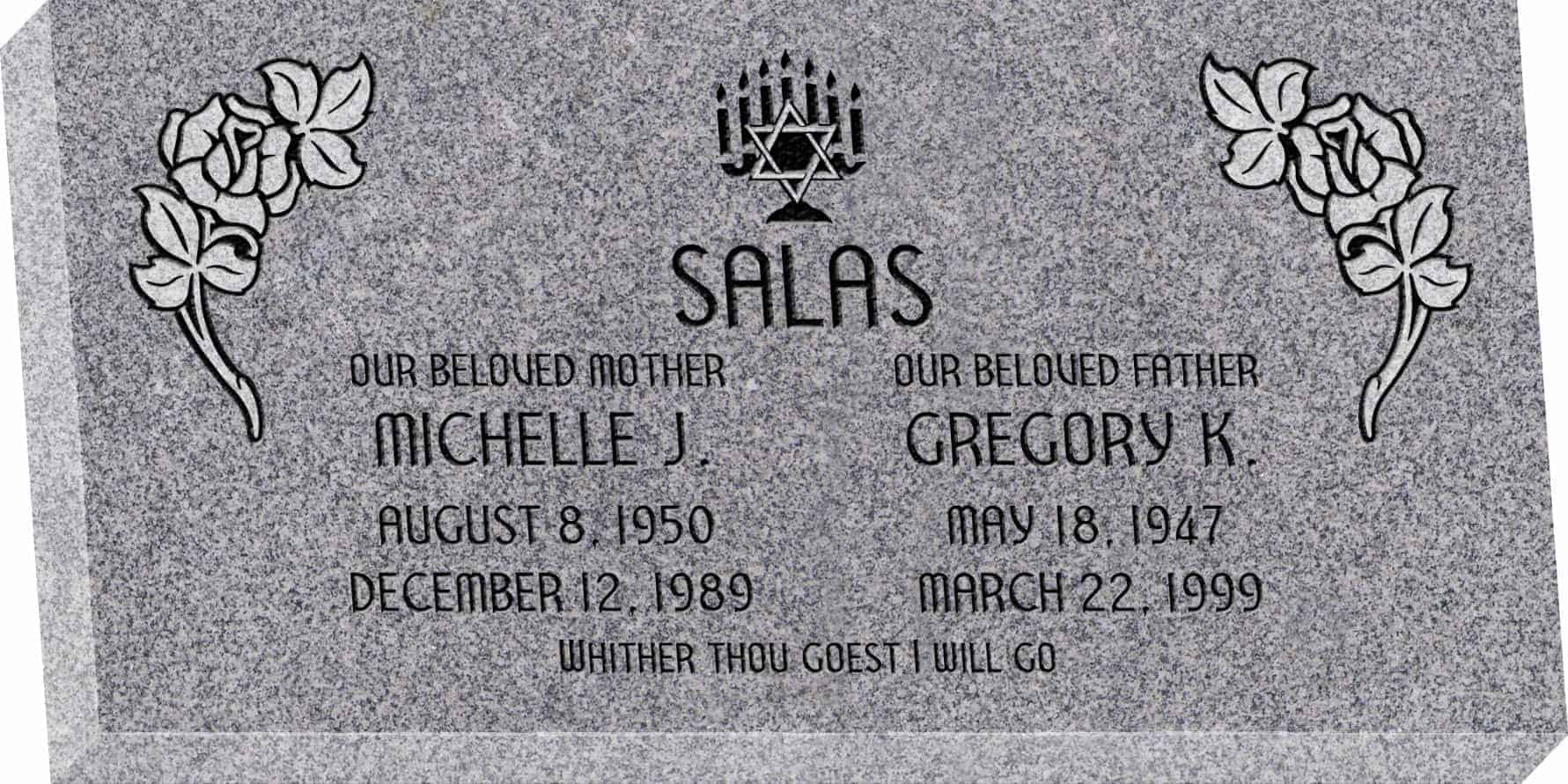 24inch_x_12inch_x_3inch_Flat_Granite_Headstone_in_Grey_with_design_J-06_Sanded_Panel