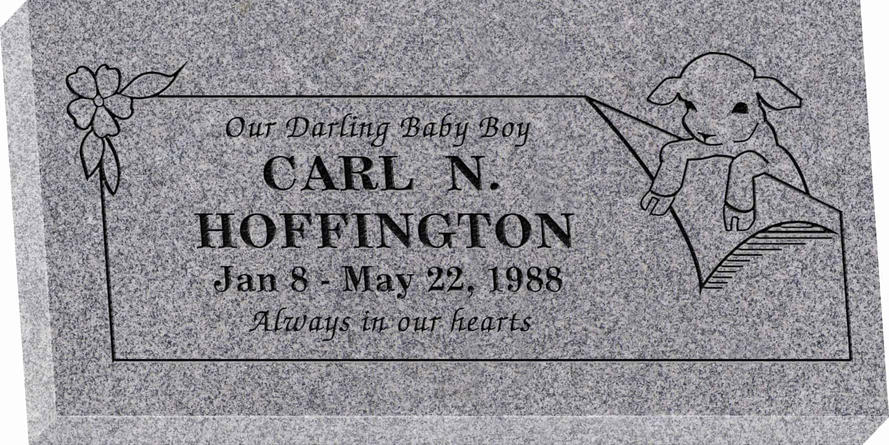 24inch_x_12inch_x_3inch_Flat_Granite_Headstone_in_Grey_with_design_R-29